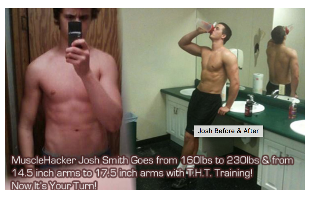MuscleHacker Josh Smith gains 70 lbs working out 3 to 5 days per week