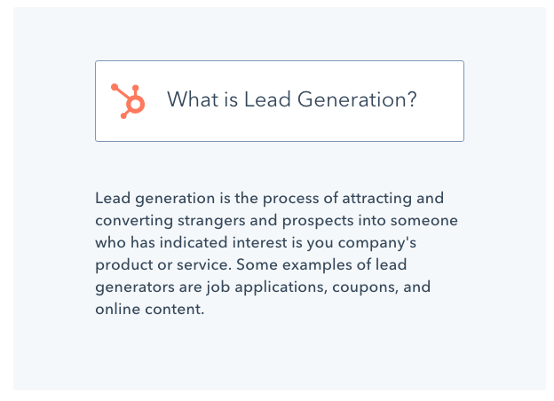 Rehabs finder uses a screenshot of Hubspot's definition for the term lead generation