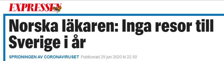 Svensk media skriver om olika riktlinjer mellan Norge och Sverige i Corona-krisen